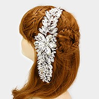 Glass crystal flower vine bun wrap hair comb