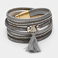 Triple tier faux leather wrap magnetic bracelet with tassel charm