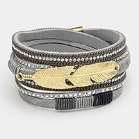 Triple tier faux leather wrap magnetic bracelet with metal feather