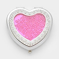 Crystal filled heart floating locket compact mirror with gift box