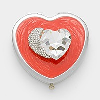 Pave crescent & glass crystal heart compact mirror with gift box