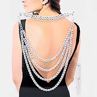 2 PCS - Multi-layer rhinestone back Drop evening necklaces