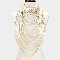 2 PCS - Multi-layer pearl strand bib necklace + choker