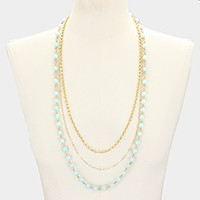 Triple layer semi precious stone bead necklace