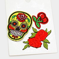 Day of the dead skull & rose _ Embroidered patch set