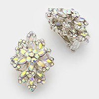 Glass crystal bloom clip on earrings