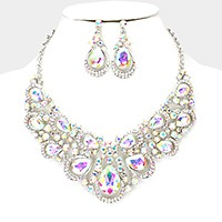 Glass crystal teardrop evening necklace