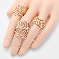 3 PCS - Crystal leaf rings