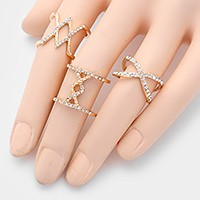 3 PCS - Crystal metal cage rings