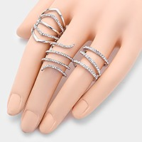 3 PCS - Crystal coil cage rings