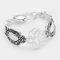 'A' Antique metal spoon handle monogram magnetic bracelet