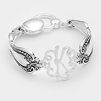 'K' Antique metal spoon handle monogram magnetic bracelet