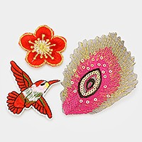 Flower & suquin peacock feather _ Embroidered patch set