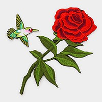 Rose & Bird _ Embroidered patch set
