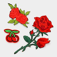 Rose & cherry _ Embroidered patch set