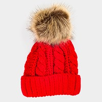 Cable knit beanie hat with faux fur pom pom
