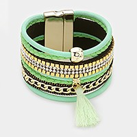 Multi-tier crystal & chain magnetic bracelet with tassel charm
