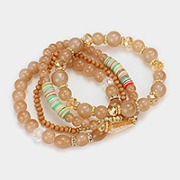 4 PCS - Beaded stack stretch bracelets