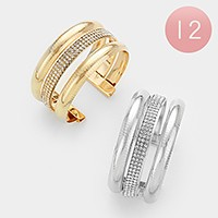 12 PCS - Crystal banded metal cage cuff bracelets