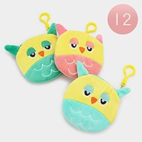 12 PCS - Rounded cute bird zip coin pouches with keychains