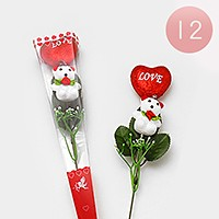 12 PCS - Valentine's day heart teddy bear gift artificial flowers