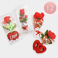 12 PCS - Valentine's day mini heart teddy bear gift artificial flowers