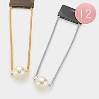 12 PCS - Chunky pearl pendant & metal mesh chain necklaces