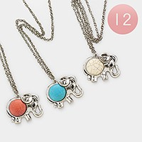 12 PCS - Howlite stone elephant pendant long necklaces