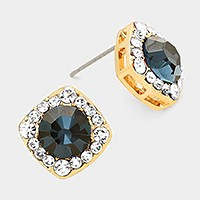 Round Glass Crystal Cut Quad Stud Earrings