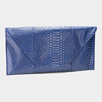 Snake skin envelope clutch bag with detachable strap
