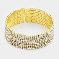 9-Row split rhinestone open bracelet