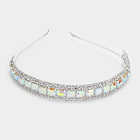Rhinestone trim emerald cut glass crystal headband