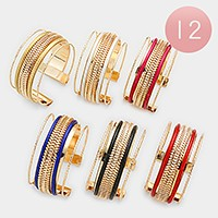 12 PCS - Rope lined metal cage cuff bracelets