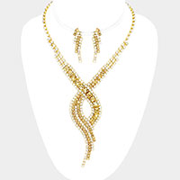 Swirl Rhinestone Pave Necklace