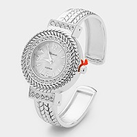 Crystal trim dial & embossed metal open cuff watch