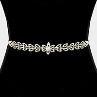 Rhinestone laurel sash ribbon bridal wedding belt