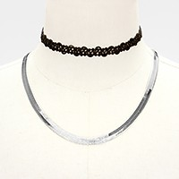 2 PCS - Metal omega necklace + tattoo lace choker