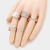 5 PCS - Mixed metal chain & pave plate stretch rings