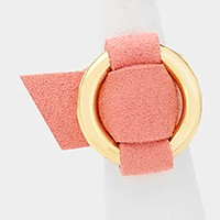 Metal hoop buckle faux suede ring