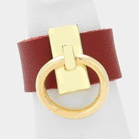Metal door knocker hoop faux leather ring
