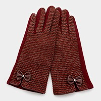 Bow detail tweed thermal smart gloves