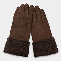 Faux suede & waffle knit thermal smart gloves