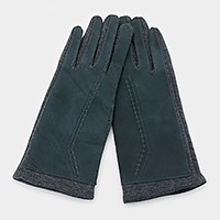 Stitch detail thermal smart gloves