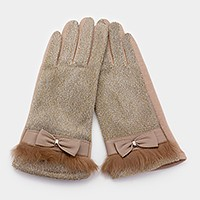 Bow & faux fur detail thermal smart gloves