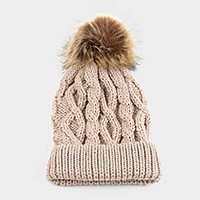 Cable knit beanie hat with furry pom pom