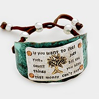 Hammered metal tree of life faux leather cinch bracelet