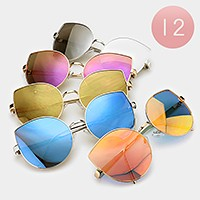 12 Pairs - Oversized mirror cat eye sunglasses