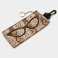 Glasses print snake skin faux leather eyewear zip pouch with keychain