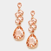 Glass crystal teardrop evening earrings