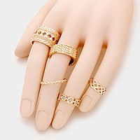 5 PCS - Mixed Cut Out Metal Rings